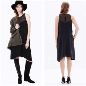MADEWELL Parkview Dress Black Sleveless Silk XS L3